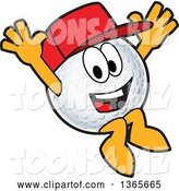 Vector Illustration of a Cartoon Golf Ball Sports Mascot Wearing a Red Hat and Jumping by Toons4Biz