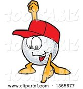 Vector Illustration of a Cartoon Golf Ball Sports Mascot Wearing a Red Hat and Pointing down by Toons4Biz