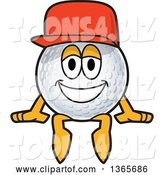 Vector Illustration of a Cartoon Golf Ball Sports Mascot Wearing a Red Hat and Sitting by Toons4Biz