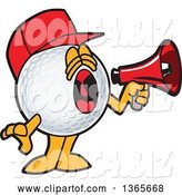 Vector Illustration of a Cartoon Golf Ball Sports Mascot Wearing a Red Hat and Using a Megaphone by Toons4Biz