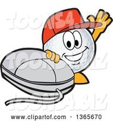 Vector Illustration of a Cartoon Golf Ball Sports Mascot Wearing a Red Hat and Waving by a Computer Mouse by Toons4Biz