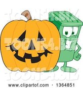 Vector Illustration of a Cartoon Green Rolling Trash Can Mascot by a Halloween Jackolantern Pumpkin by Toons4Biz