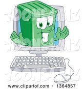 Vector Illustration of a Cartoon Green Rolling Trash Can Mascot Emerging from a Desktop Computer Screen by Toons4Biz