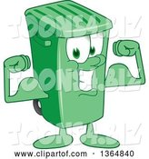 Vector Illustration of a Cartoon Green Rolling Trash Can Mascot Flexing by Toons4Biz