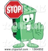 Vector Illustration of a Cartoon Green Rolling Trash Can Mascot Gesturing and Holding a Stop Sign by Toons4Biz