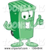 Vector Illustration of a Cartoon Green Rolling Trash Can Mascot Giving a Thumb up by Toons4Biz