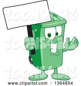 Vector Illustration of a Cartoon Green Rolling Trash Can Mascot Holding a Blank Sign by Toons4Biz