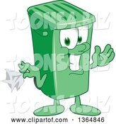 Vector Illustration of a Cartoon Green Rolling Trash Can Mascot Holding a Napkin or Hankie by Toons4Biz
