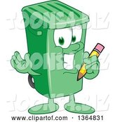 Vector Illustration of a Cartoon Green Rolling Trash Can Mascot Holding a Pencil by Toons4Biz