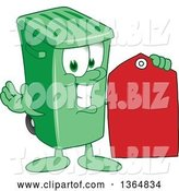 Vector Illustration of a Cartoon Green Rolling Trash Can Mascot Holding a Red Sales Price Tag by Toons4Biz