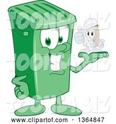 Vector Illustration of a Cartoon Green Rolling Trash Can Mascot Holding a Tin Can by Toons4Biz