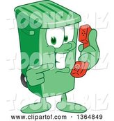 Vector Illustration of a Cartoon Green Rolling Trash Can Mascot Holding and Pointing to a Telephone by Toons4Biz