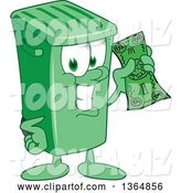Vector Illustration of a Cartoon Green Rolling Trash Can Mascot Holding Cash Money by Toons4Biz
