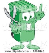 Vector Illustration of a Cartoon Green Rolling Trash Can Mascot Holding up a Finger and Scissors by Toons4Biz