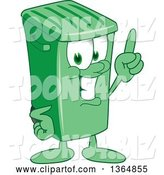 Vector Illustration of a Cartoon Green Rolling Trash Can Mascot Holding up a Finger by Toons4Biz