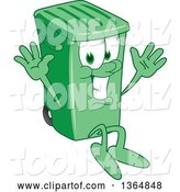 Vector Illustration of a Cartoon Green Rolling Trash Can Mascot Jumping by Toons4Biz