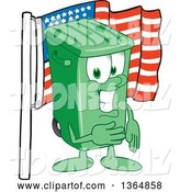 Vector Illustration of a Cartoon Green Rolling Trash Can Mascot Pledging Allegiance to the American Flag by Toons4Biz
