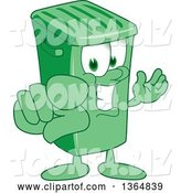 Vector Illustration of a Cartoon Green Rolling Trash Can Mascot Presenting and Pointing Outwards by Toons4Biz