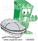 Vector Illustration of a Cartoon Green Rolling Trash Can Mascot Presenting by a Computer Mouse by Toons4Biz