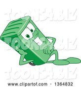 Vector Illustration of a Cartoon Green Rolling Trash Can Mascot Resting on His Side by Toons4Biz