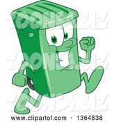 Vector Illustration of a Cartoon Green Rolling Trash Can Mascot Running by Toons4Biz