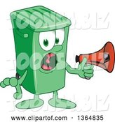Vector Illustration of a Cartoon Green Rolling Trash Can Mascot Screaming into a Megaphone by Toons4Biz