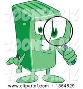 Vector Illustration of a Cartoon Green Rolling Trash Can Mascot Searching with a Magnifying Glass by Toons4Biz