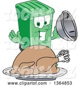 Vector Illustration of a Cartoon Green Rolling Trash Can Mascot Serving a Roasted Thanksgiving Turkey by Toons4Biz