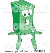 Vector Illustration of a Cartoon Green Rolling Trash Can Mascot Sitting by Toons4Biz