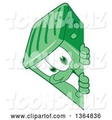 Vector Illustration of a Cartoon Green Rolling Trash Can Mascot Smiling Around a Sign by Toons4Biz