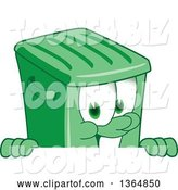 Vector Illustration of a Cartoon Green Rolling Trash Can Mascot Smiling over a Sign by Toons4Biz