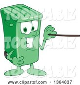Vector Illustration of a Cartoon Green Rolling Trash Can Mascot Using a Pointer Stick by Toons4Biz