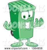 Vector Illustration of a Cartoon Green Rolling Trash Can Mascot Welcoming by Toons4Biz