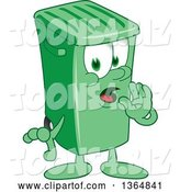 Vector Illustration of a Cartoon Green Rolling Trash Can Mascot Whispering by Toons4Biz