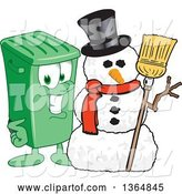 Vector Illustration of a Cartoon Green Rolling Trash Can Mascot with a Christmas Snowman by Toons4Biz