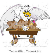 Vector Illustration of a Cartoon Griffin Mascot Doing Homework at a Desk by Toons4Biz