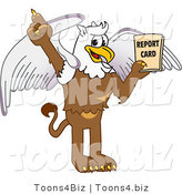 Vector Illustration of a Cartoon Griffin Mascot Holding a Report Card by Toons4Biz