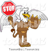 Vector Illustration of a Cartoon Griffin Mascot Holding a Stop Sign by Toons4Biz
