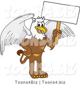 Vector Illustration of a Cartoon Griffin Mascot Holding a White Sign by Toons4Biz