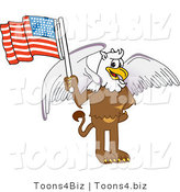 Vector Illustration of a Cartoon Griffin Mascot Holding an American Flag by Toons4Biz