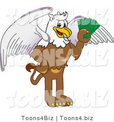 Vector Illustration of a Cartoon Griffin Mascot Holding Cash by Toons4Biz