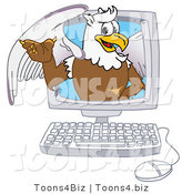 Vector Illustration of a Cartoon Griffin Mascot in a Computer by Toons4Biz