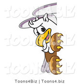 Vector Illustration of a Cartoon Griffin Mascot Looking Around a Sign by Toons4Biz