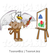 Vector Illustration of a Cartoon Griffin Mascot Painting a Canvas by Toons4Biz