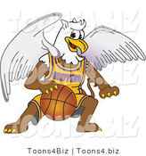 Vector Illustration of a Cartoon Griffin Mascot Playing Basketball by Toons4Biz