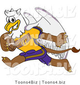 Vector Illustration of a Cartoon Griffin Mascot Playing Football by Toons4Biz