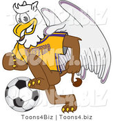 Vector Illustration of a Cartoon Griffin Mascot Playing Soccer by Toons4Biz