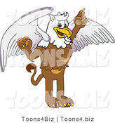 Vector Illustration of a Cartoon Griffin Mascot Pointing up by Toons4Biz