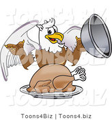 Vector Illustration of a Cartoon Griffin Mascot Serving a Thanksgiving Turkey by Toons4Biz