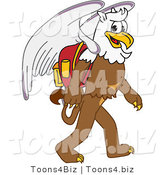 Vector Illustration of a Cartoon Griffin Mascot Walking to School by Toons4Biz